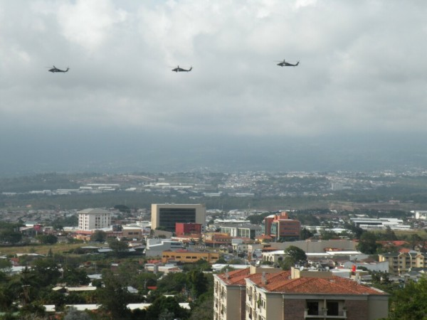 A friendly visit from your neighbor: Black Hawk helicopters anticipate Obama's arrival in San Jose, Costa Rica