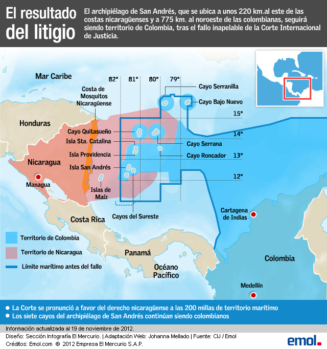 The blue lines marks the old boundary. The red marks what the ICJ awarded Nicaragua.