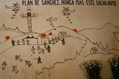 Efraín Ríos Montt found guilty of genocide against Maya Ixil. This mural depicts a rural massacre.