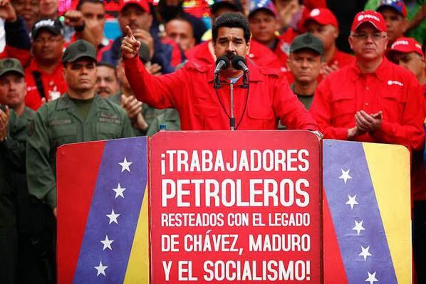 "Nicolas Maduro addresses oil workers on Feb 18. ""In this moment Diosdado (the president of the Congress) is driving his car to take Leopoldo López to a jail outside of Caracas"", he said."