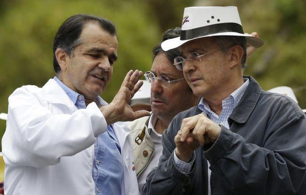Oscar Ivan Zuluaga, left, with his mentor, former President Alvaro Uribe