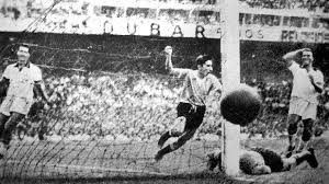 Uruguay scores against Brazil in La Maracana to win the 1950 World Cup