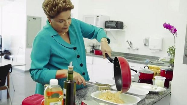 "Dilma moving the ""massas""  (portuguese for pastas and masses)"